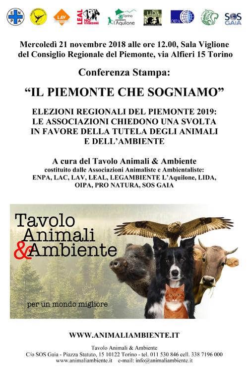 IL PIEMONTE CHE SOGNIAMO - Conferenza Stampa - Mercoledì 21 novembre alle 12.00, Sala Viglione del Consiglio Regionale del Piemonte, via Alfieri 15 Torino