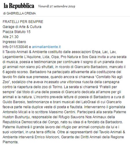 La-Repubblica-27-09-2019-Fratelli-per-Sempre-Tributo-Tavolo-Animali-Ambiente-Giancarlo-Barbadoro
