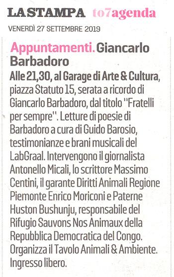 La-Stampa-27-09-2019-Fratelli-per-Sempre-Tributo-Tavolo-Animali-Ambiente-Giancarlo-Barbadoro