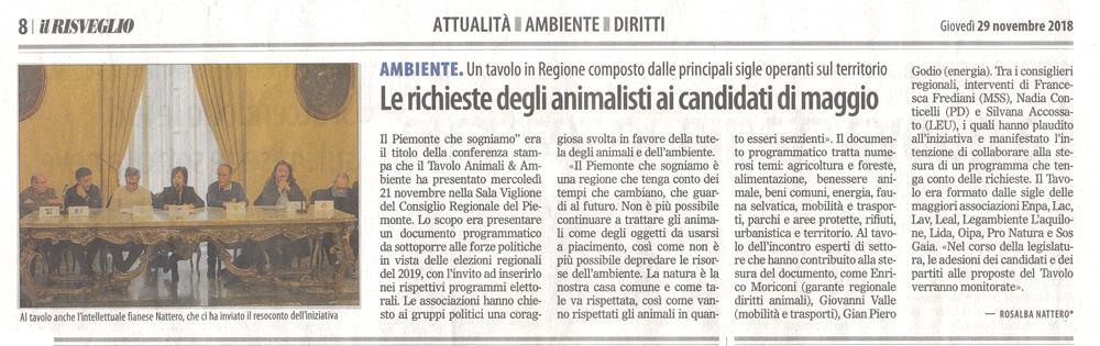 il-risveglio-29-11-2018-richieste-animalisti-candidati-maggio