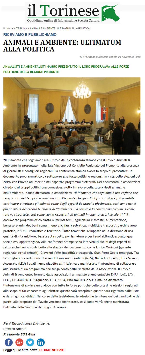 il-torinese-24-11-2018-animali-e-ambiente-ultimatum-alla-politica