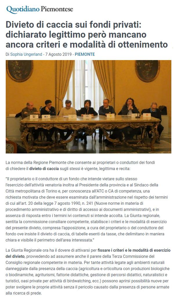 quotidiano-piemontese-07-08-2019-Divieto-di-caccia-sui-fondi-privati